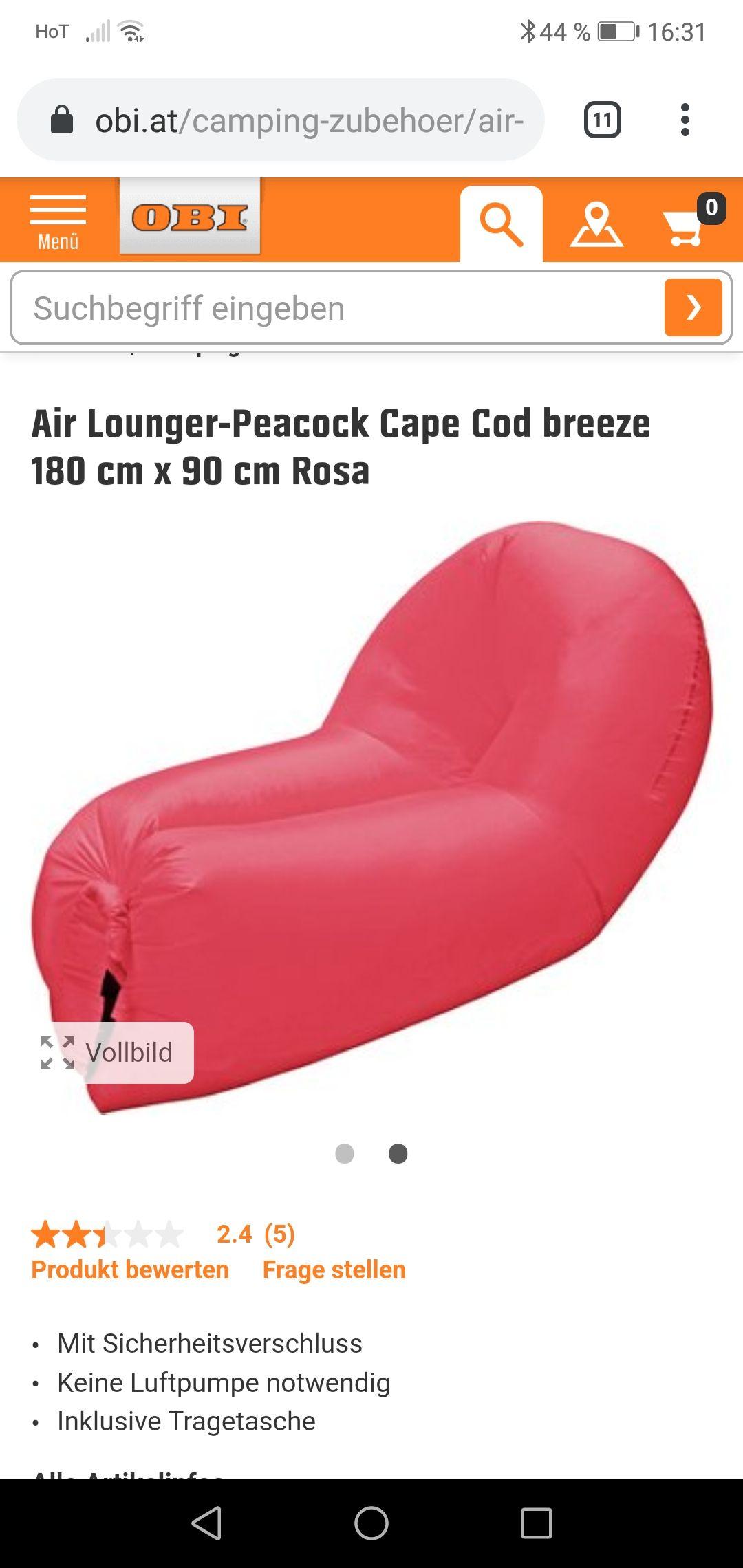 Obi air lounge luftkissen couch zum Bestpreis