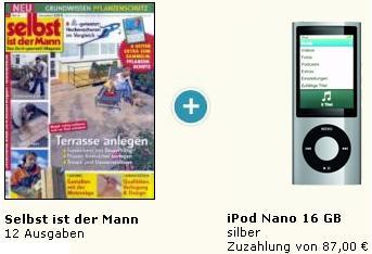 Apple iPod Nano 16GB für 129€ + gratis Jahresabo Selbst ist der Mann oder bis zu 8€ Gewinn