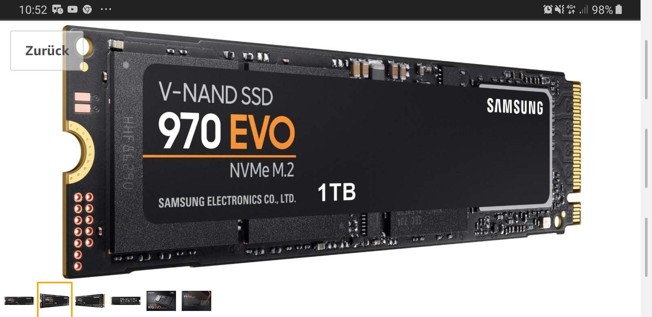 Samsung MZ-V7E1T0BW Interne NVMe SSD 970 EVO 1 TB M.2 bis zu 3.400 MB/s