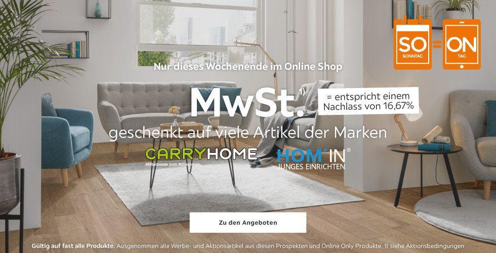 xxxlutz.at MwSt. geschenkt (16,67%) auf die Marken CarryHome und Hom'In