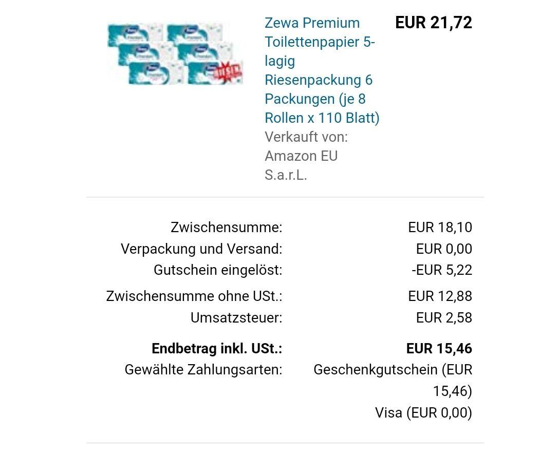 Zewa Premium Toilettenpapier (Sparabo)