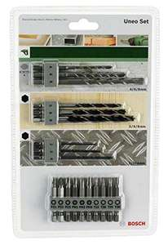 Bosch Uneo Mixed Set 19-tlg. (3 Betonbohrer, 3 Metallbohrer, 3 Holzbohrer, 10 Bits)