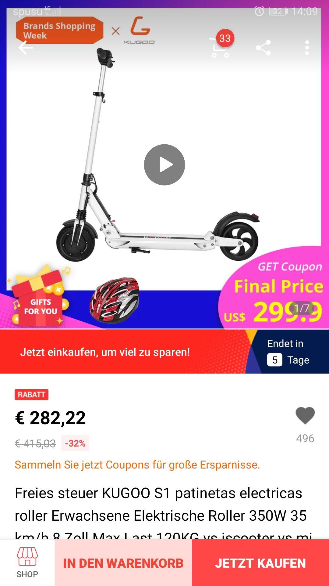 KUGOO S1 direkt aus Polen ! Bestpreis (ca.228€)