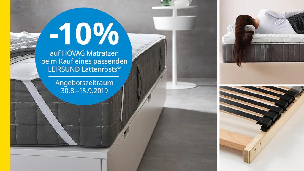 [Ikea] -10% auf Hövag Matratzen bei Kauf von Leiersund Lattenrost
