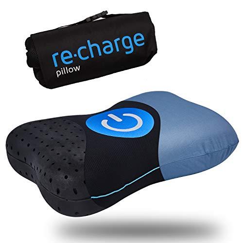 RE-CHARGE Pillow - Orthopädisches HWS Nackenstützkissen für zuhause und auf Reisen | Mit Bambus-Aktivkohle Memory-Schaum
