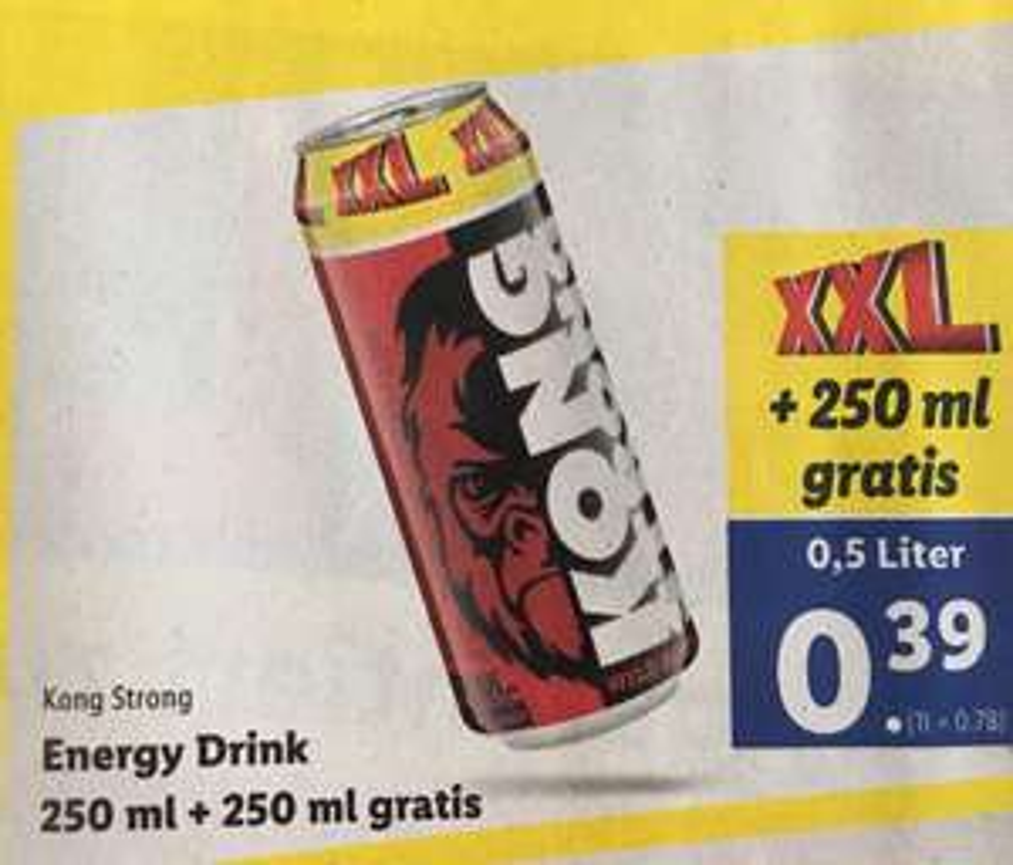 [Lidl] Kong Strong Energy / 0,5 Liter für 0,39 Euro