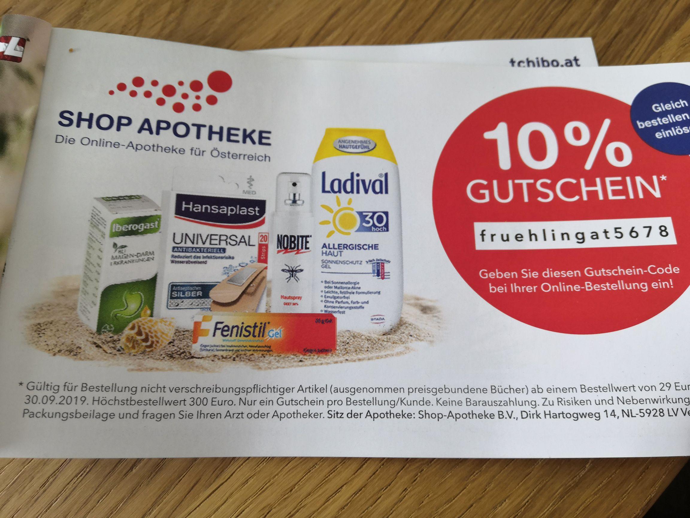 Shop-Apotheke: - 10% ab einem Bestellwert von € 29,-