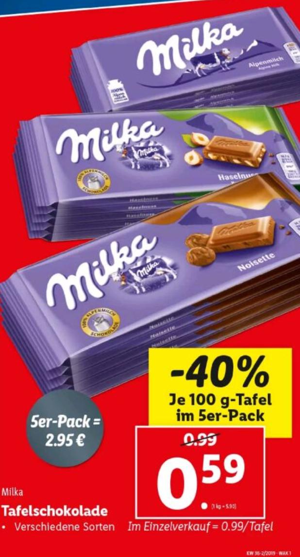 5x Milka 100g