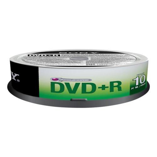 10er Spindel Sony DVD+R 10DPR47SP Rohling Transparent/Weiß
