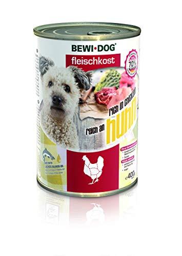 6x 400g BEWI DOG Fleischkost reich an Huhn Dose | Nassfutter für Hunde | getreidefrei