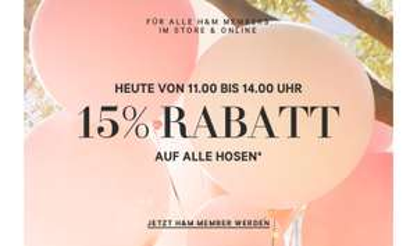 H&M 15% auf Hosen aber nur bis 14h