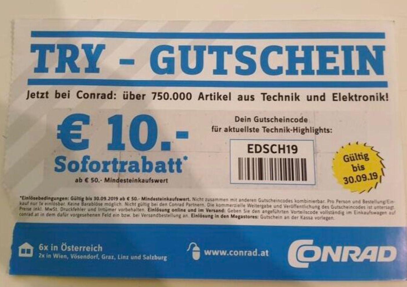 10€ Conrad Gutschein ab 50€ Einkaufswert