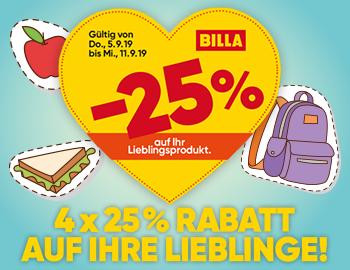 Billa 25% Rabatt-Sticker die nächsten