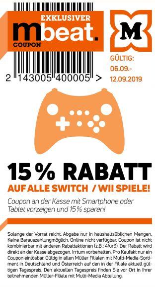 [Müller] 15% auf Switch und Wii Spiele
