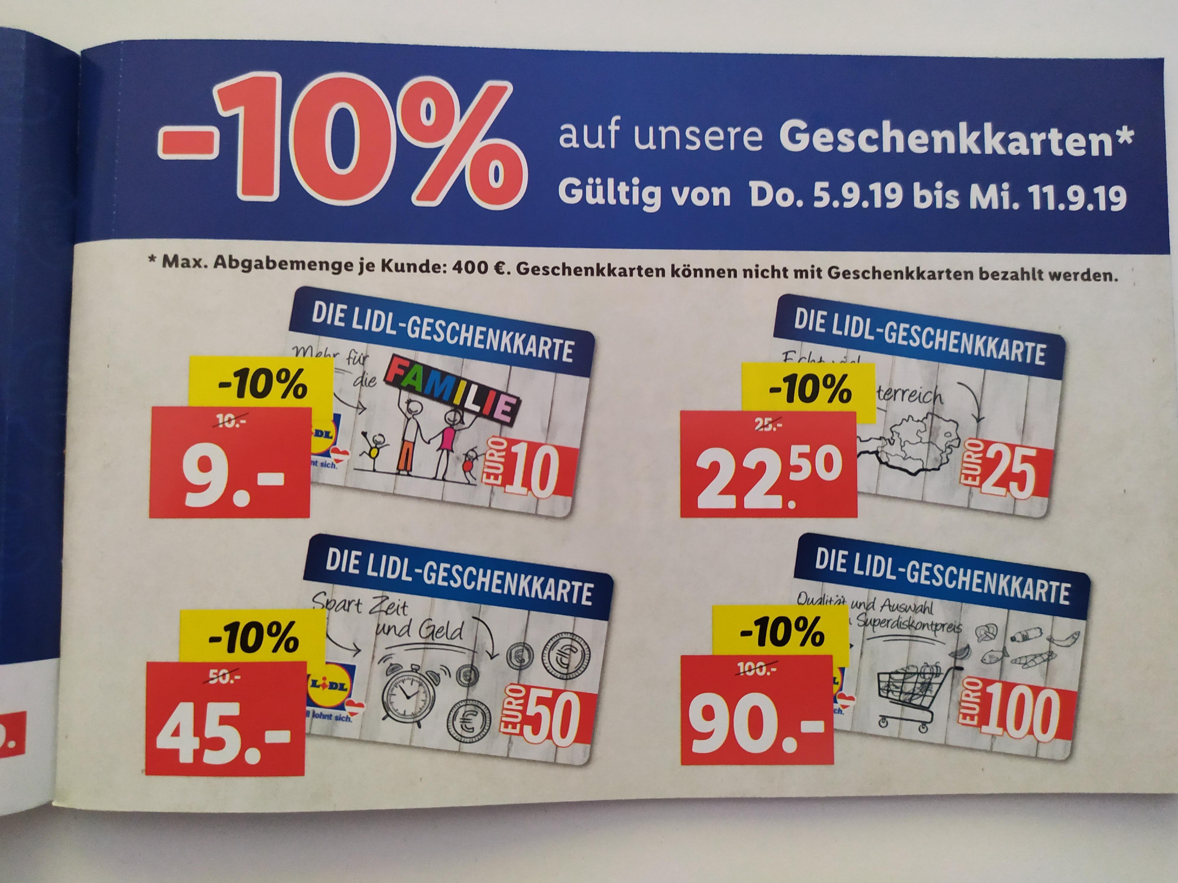 Neueröffnung Lidl Markt -10% auf Geschenkkarten bis 11.9.2019