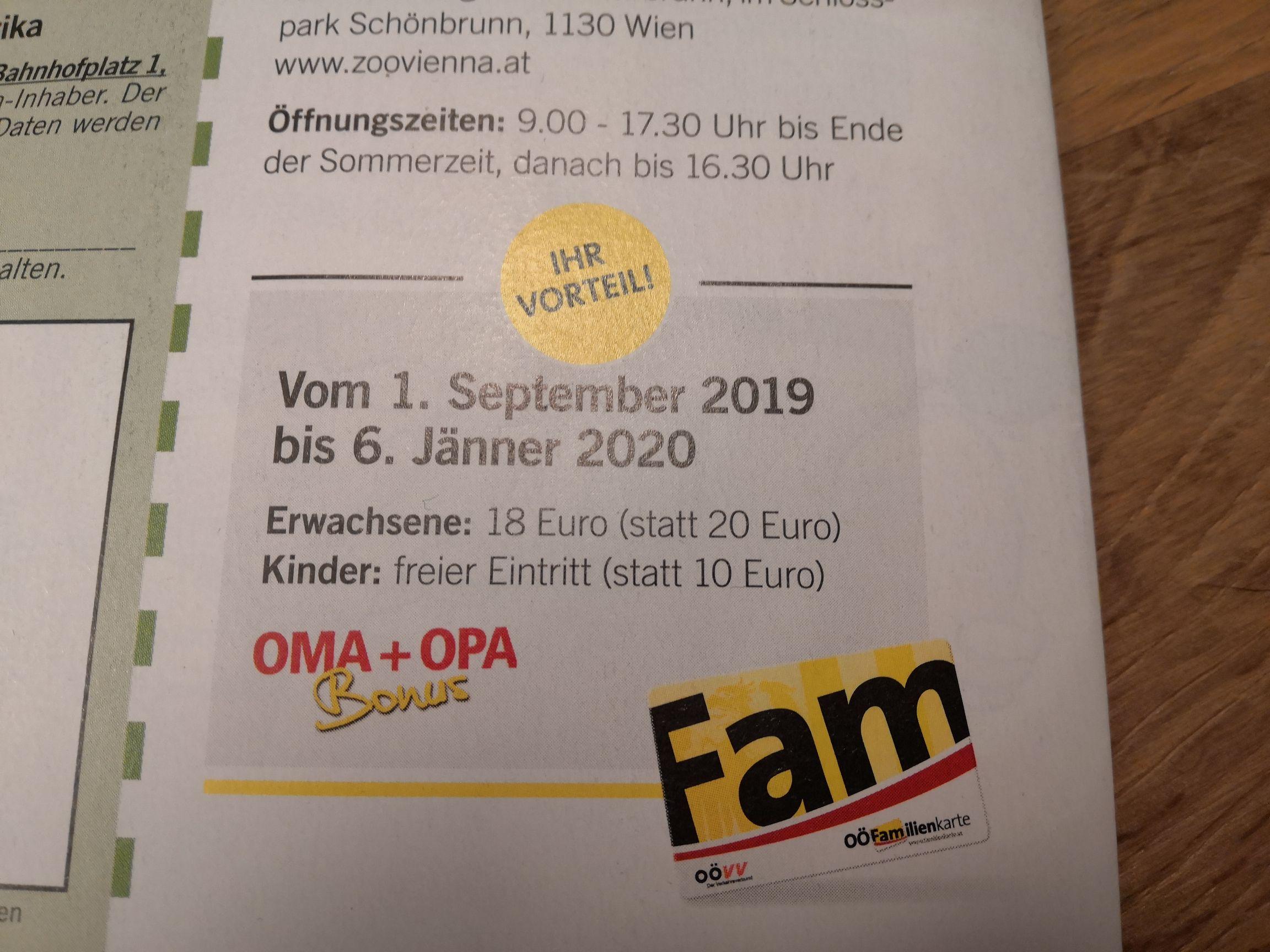 Zoo Schönbrunn: freier Eintritt für Kinder mit der OÖ-Familienkarte