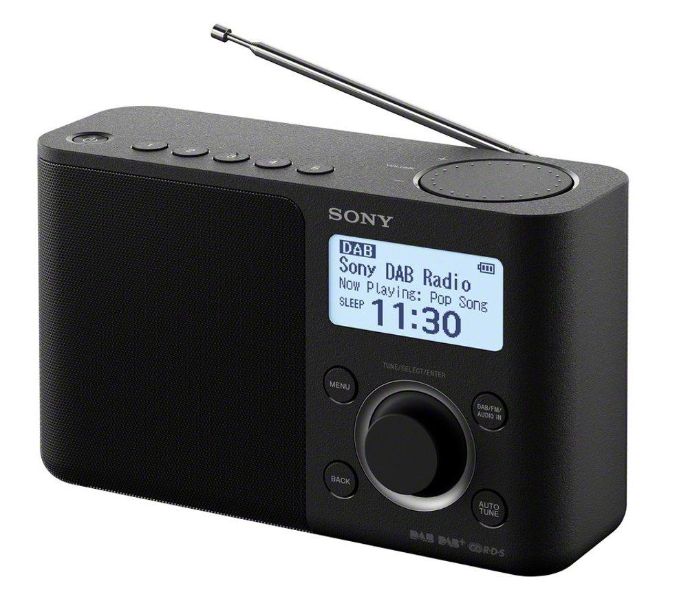 Sony XDR-S61D tragbares digitales Radio, UKW/DAB/DAB+, Senderspeicher, RDS-Funktion, Wecker, Batterie- und Netzbetrieb, schwarz
