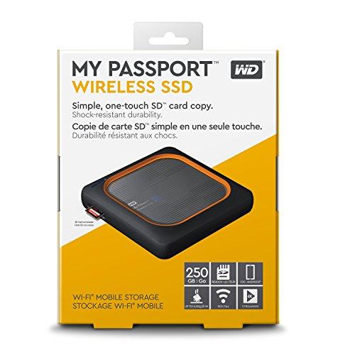 WD Wireless SSD 250GB externe Festplatte, WLAN, interg. Akku und SD Kartenleser