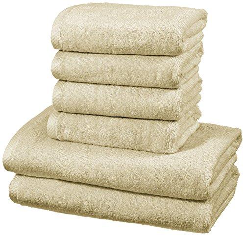 AmazonBasics - Handtuch-Set, schnelltrocknend, 2 Badetücher und 4 Handtücher - Leinenbeige, 100% Baumwolle
