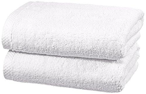 AmazonBasics - Handtuch-Set, schnelltrocknend, 2 Handtücher - Weiß, 100% Baumwolle - Plus Produkt