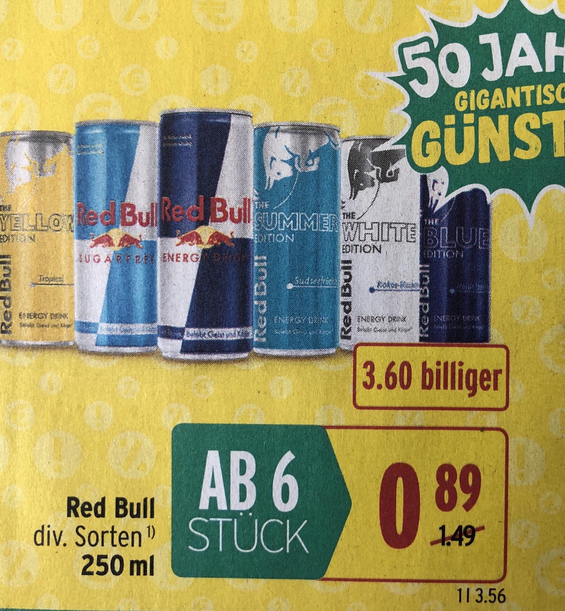 Red Bull um nur € 0,89 (ab 6 Stk.)