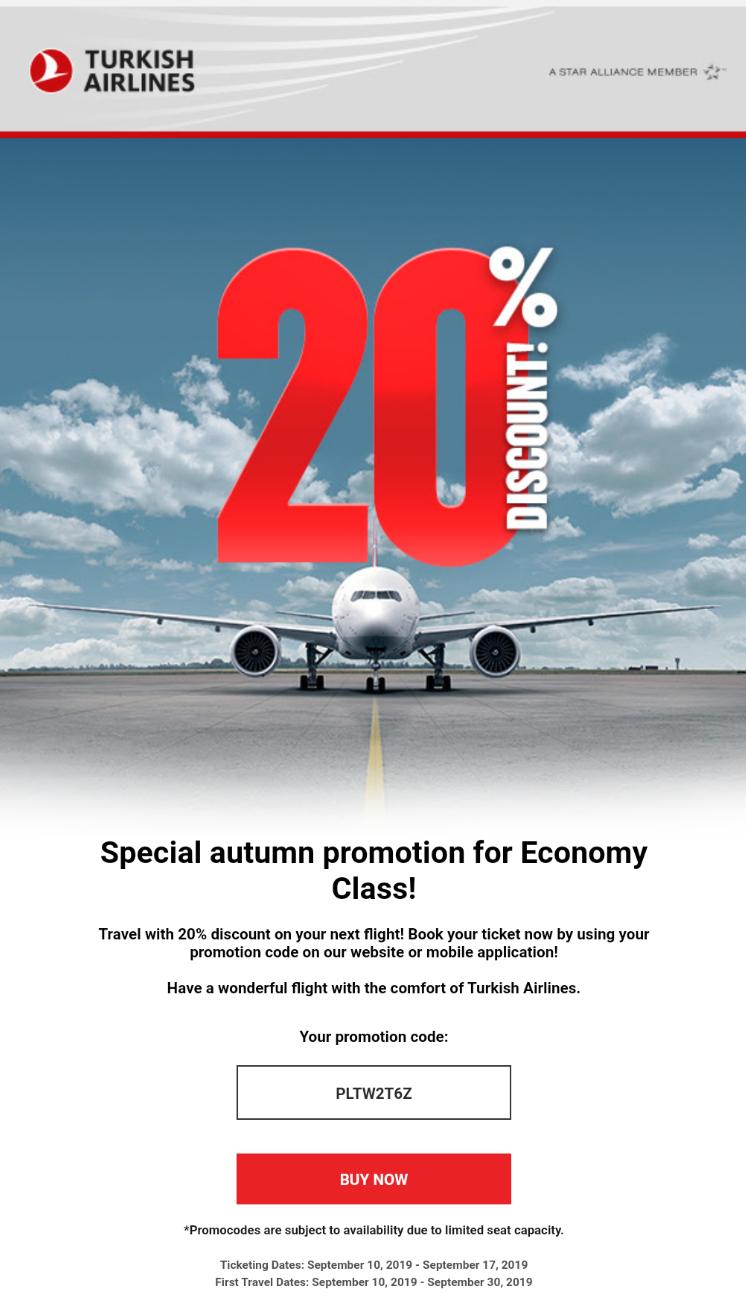 Turkish Airlines Flug -20%
