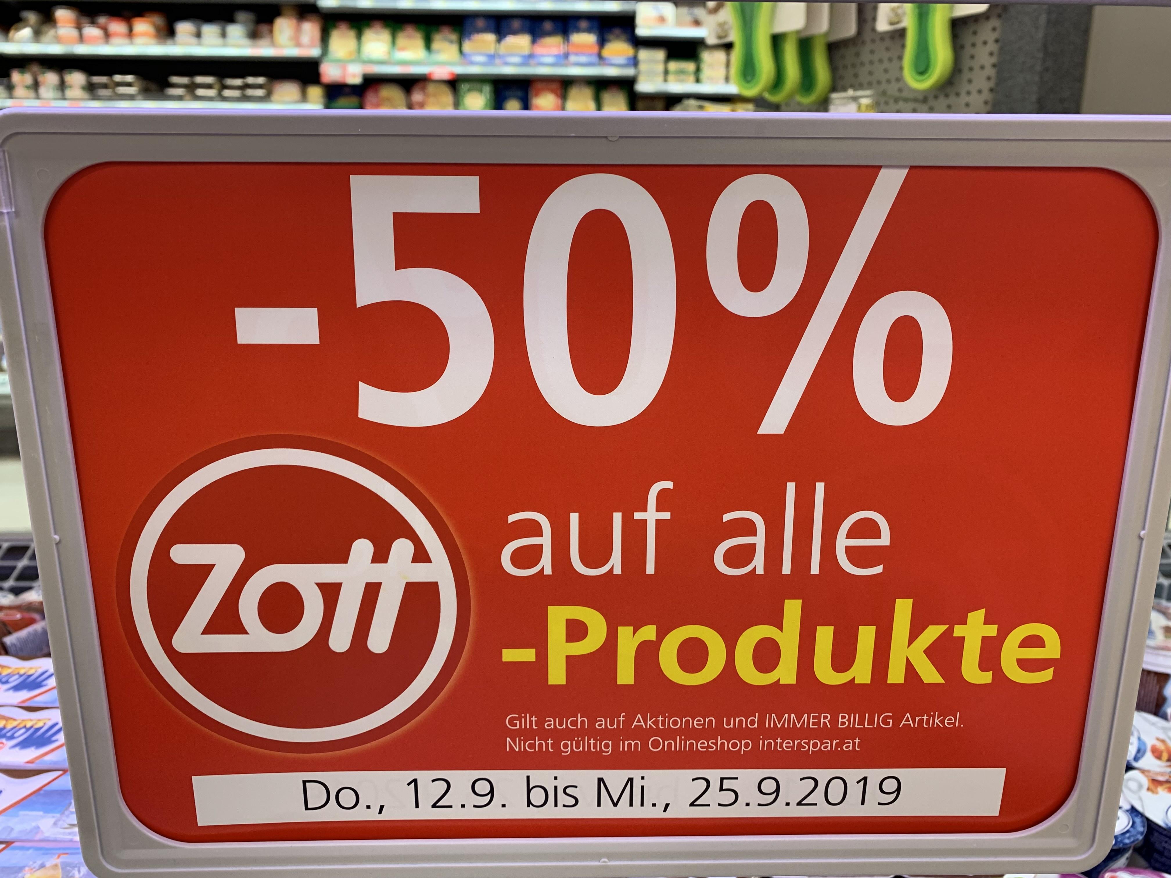 -50% auf Zott-Produkte bei Spar/Eurospar/Interspar