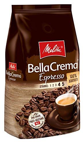 Melitta BellaCrema Espresso Kaffeebohnen 1kg (100% Arabica, kräftig-würziger Geschmack, Stärke 4-5)