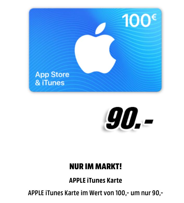100€ Apple App Store & iTunes Geschenkkarte vergünstigt – Media Markt