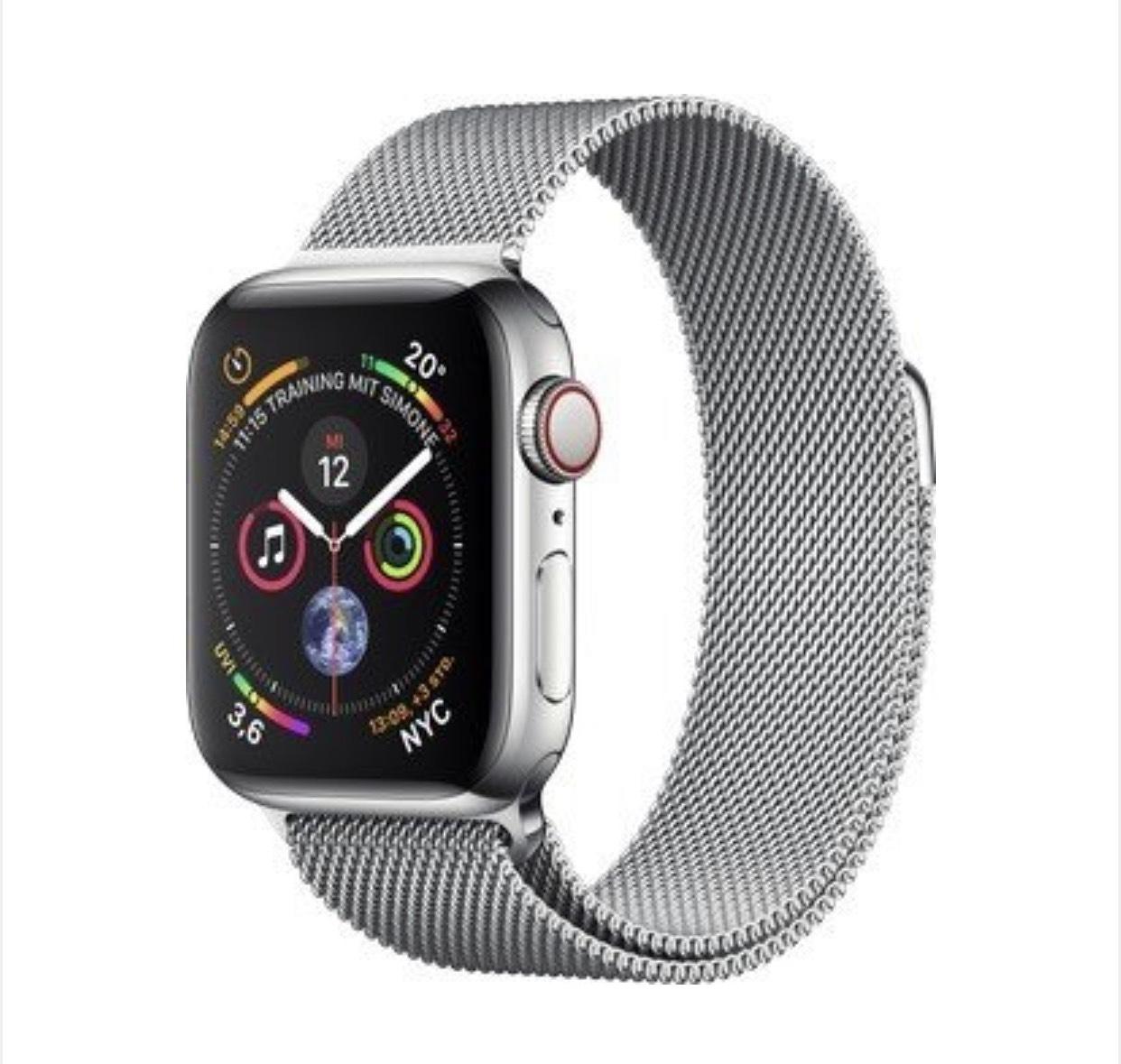 Apple Watch Series 4 (GPS + Cellular) Edelstahl 40mm silber mit Milanaise-Armband