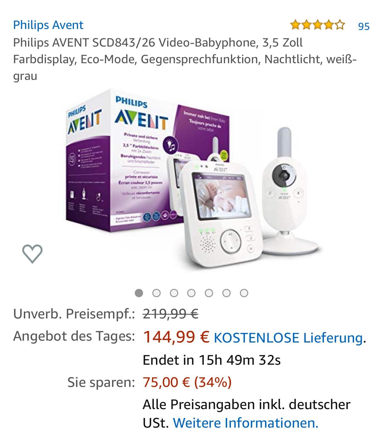 Philips AVENT SCD843/26 Video-Babyphone, 3,5 Zoll Farbdisplay, Eco-Mode, Gegensprechfunktion, Nachtlicht, weiß-grau von Amazon.de