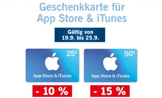 Geschenkkarten für App Store & iTunes (25 € / -10%, 50 € / -15%)