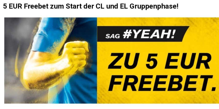 Interwetten: Gratiswette in Höhe von 5€ auf Spiele der Champions League und Europa League
