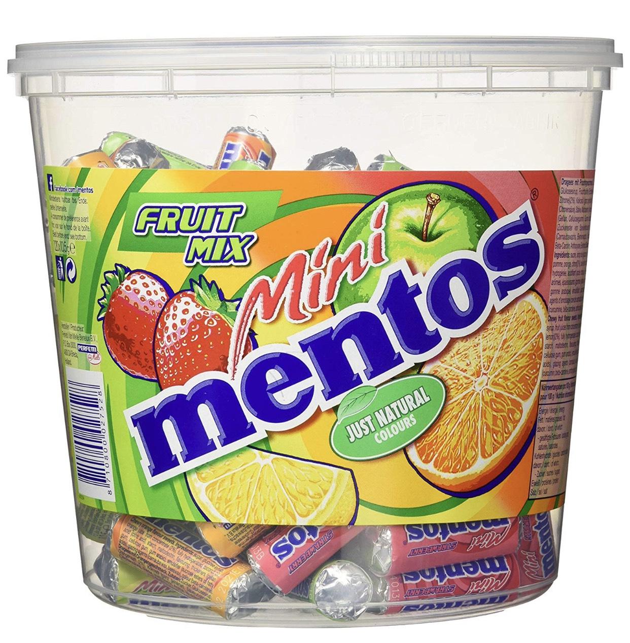 Mini Mentos Fruit Mix oder Mint Eimer (120 Rollen) im Spar-Abo