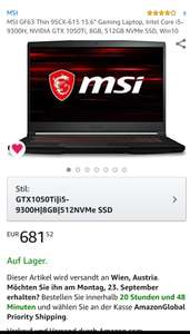 "MSI GF63 Thin 9SCX-615 15.6"" Gaming Laptop, Intel Core i5-9300H, NVIDIA GTX 1050Ti, 8GB, 512GB NVMe SSD, Win10"