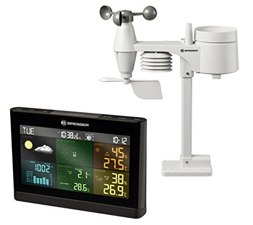 Bresser Wetterstation mit 5-in-1 Außensensor (Temperatur, Luftdruck, Luftfeuchtigkeit, Wind, Niederschlag)