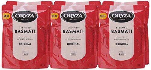 Oryza Pouch Steamed Basmati drei verschiedene Sorten  6er Pack