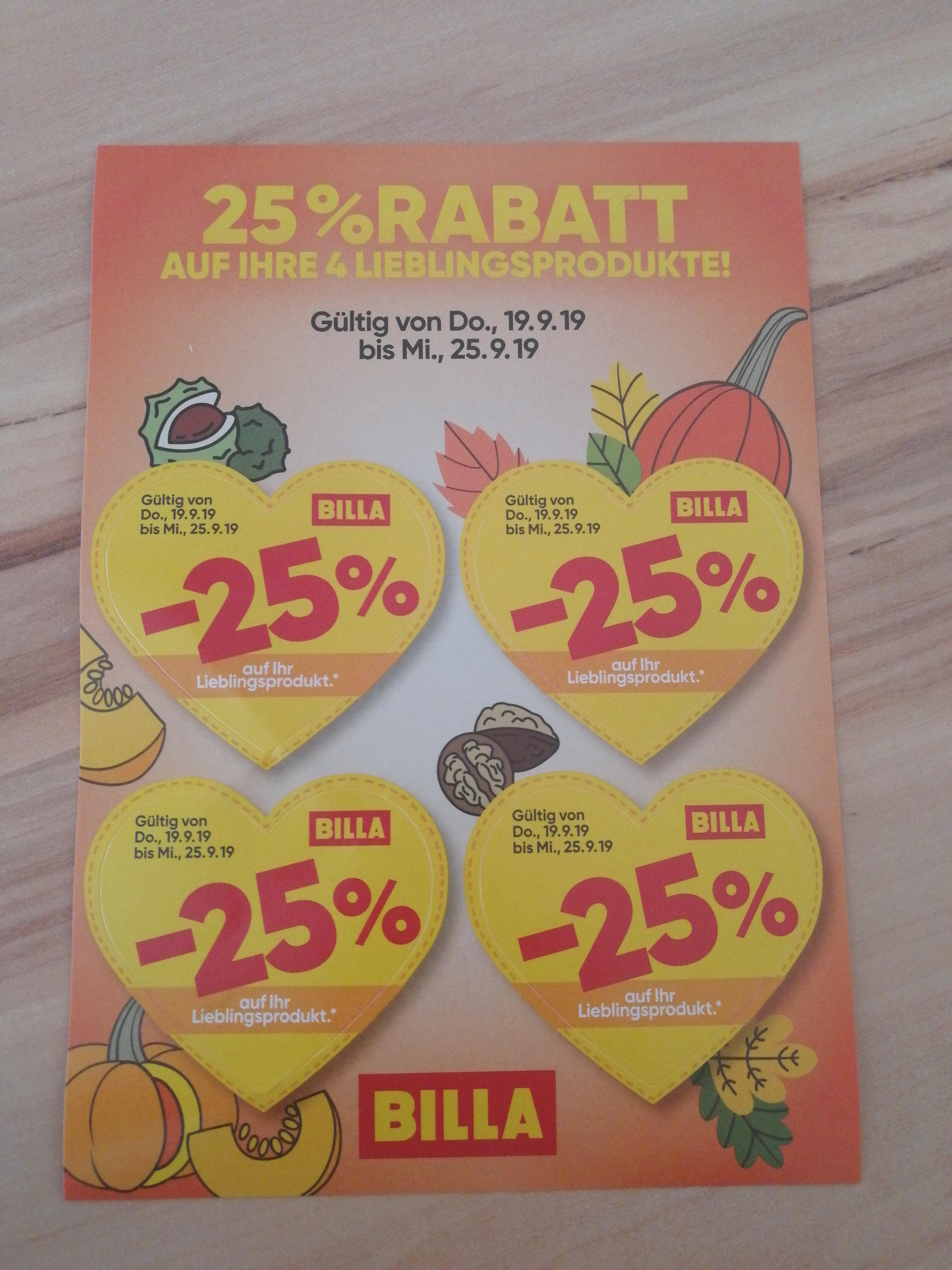 Billa 25 Prozent Rabatt Stickers im neuen Flugblatt
