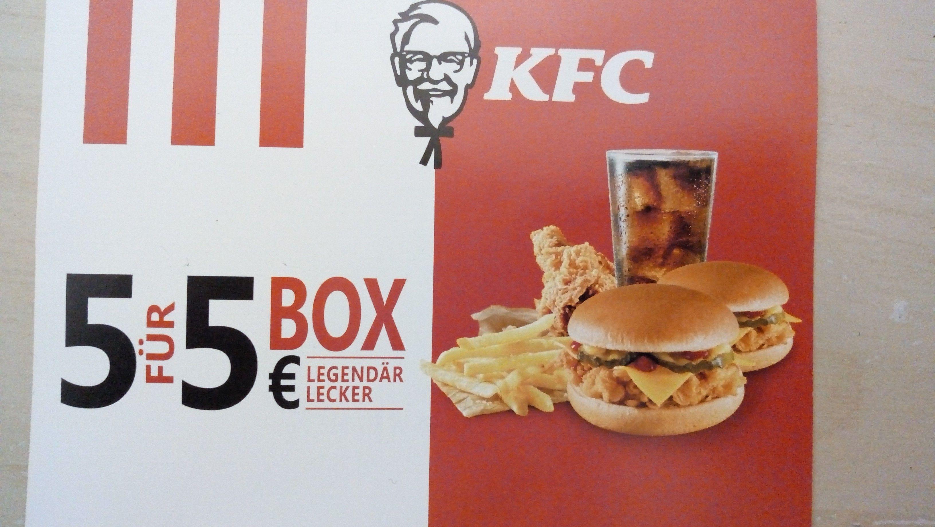 [KFCAnsfelden] 5 für 5 Euro Box (2x Cheeseburger, Pommes, Hotwing, Getränk)