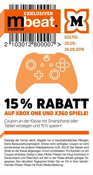 15% auf alle Xbox One und 360 Spiele bei Müller