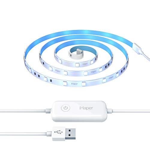 iHaper L3 Smart LED Light Strip Apple HomeKit Strip Lights, 16 Million Colors, Dimmable, 6.6ft/2m, No Hub Required, App & Voice Control