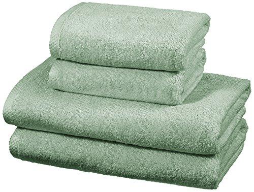 AmazonBasics - Handtuch-Set, schnelltrocknend, 2 Badetücher und 2 Handtücher - Meeresgrün, 100% Baumwolle