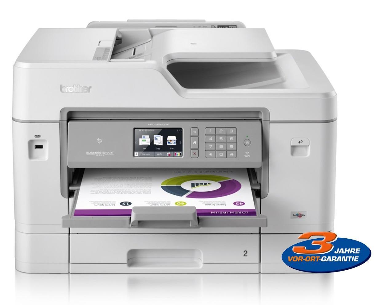 Brother  4in1 Tintenstrahl-Drucker(Drucker/Scanner/Kopierer/Fax, bis A3, 22/20 S/min, 600 Blatt, Duplex-Funktion, ADF, WLAN, NFC, USB)