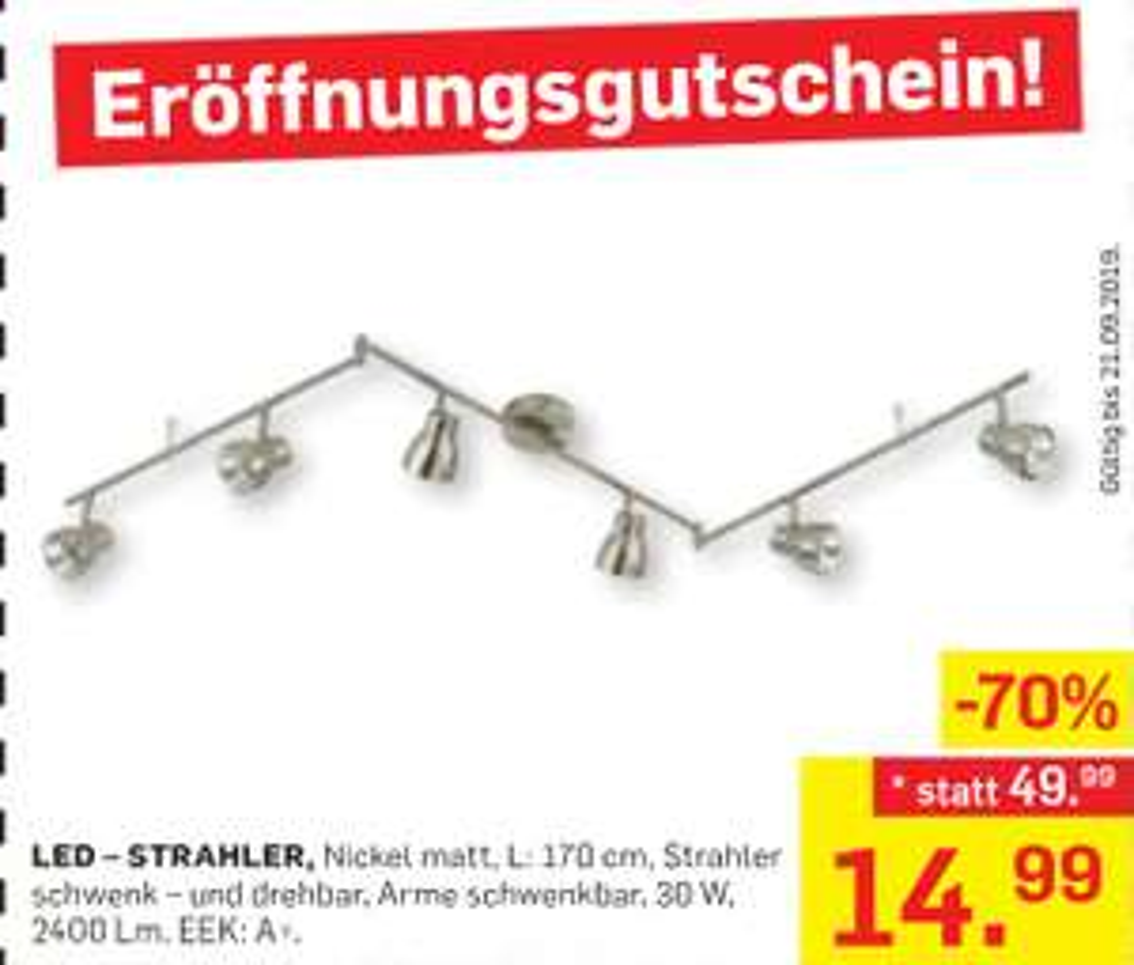 [Möbel Ludwig] Eröffnungsangebot: LED Strahler schwenkbar ink. 6 Led's, 5 Jahre Garantie um nur 14,99€