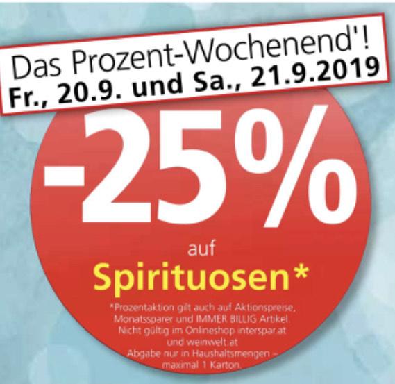 Prozent Wochenende bei Spar/Eurospar/Interspar