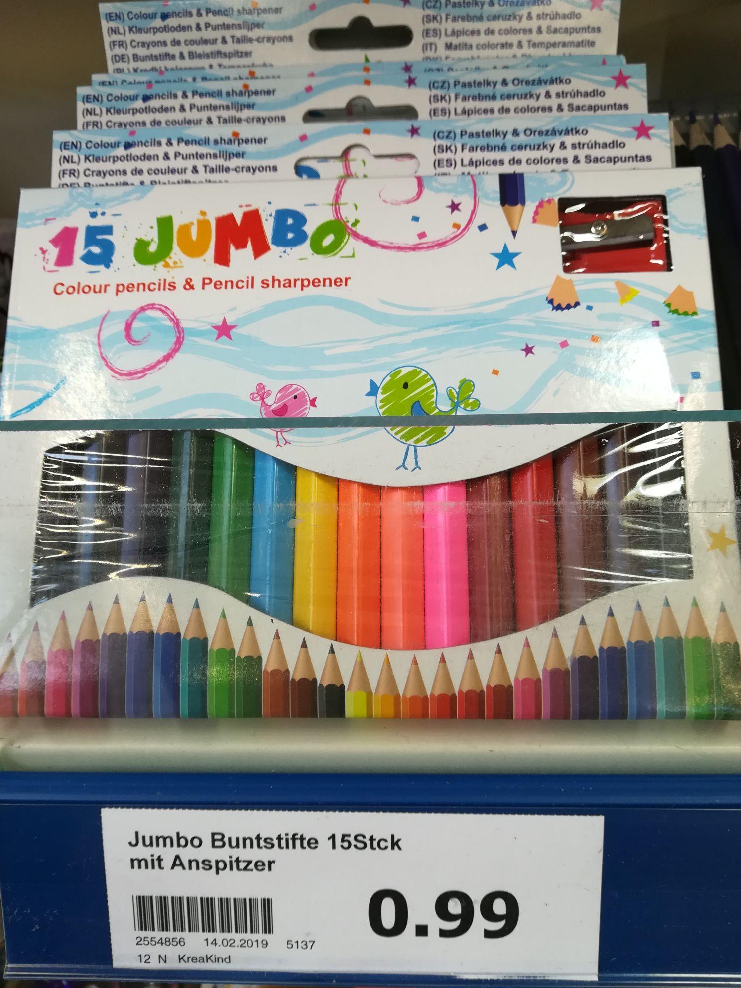 Action Markt - Jumbo Buntstifte 15 Stk inkl Anspitzer
