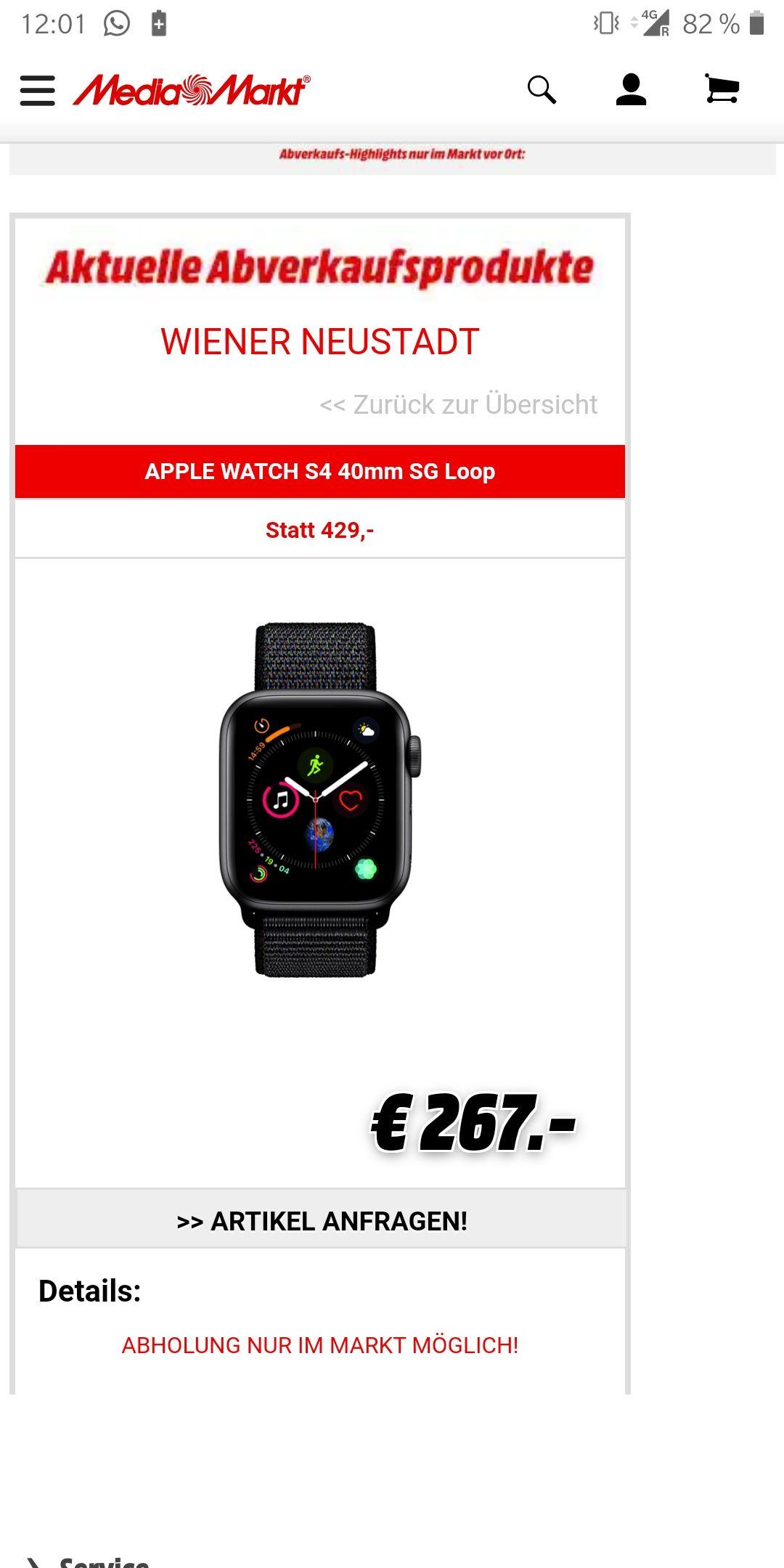 [MM Wiener Neustadt] Apple Watch Series 4 (GPS) Aluminium 40mm grau mit Sport Loop schwarz
