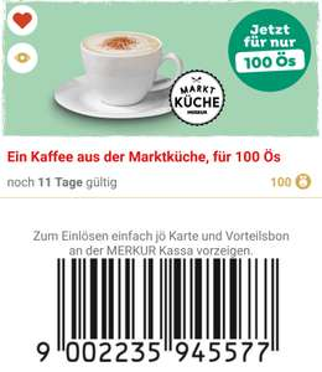 Gratis Kaffee bei Merkur für 100 Ös
