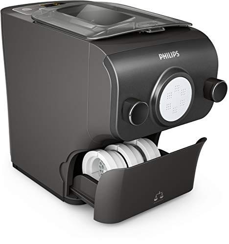 Philips HR2382/15 Pastamaker (200 W, vollautomatische Nudelmaschine, mit Wiegefunktion und 8 Formscheiben) kaschmirgrau