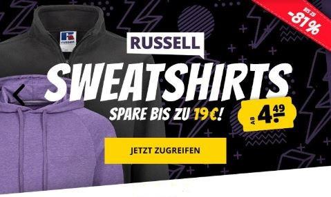 RUSSELL Sweatshirts, Sweatjacken, Hoodys ab 12,44€ für Damen und Herren XS-3XL
